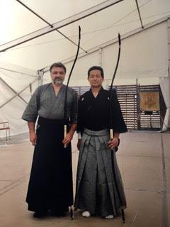 con il kanushi Ono Tadashi mio insegnante di Kiudo